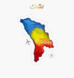 Travel around the world moldova watercolor map vector