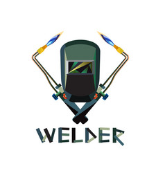 welder mask and welding torch vector image