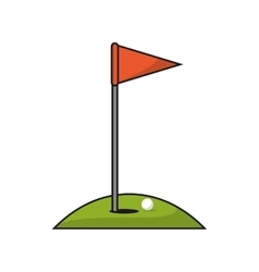Ball flag and hole of golf sport design vector