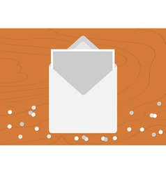 White opened blank envelope letter with greeting vector