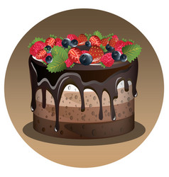 Birthday cake with berry vector