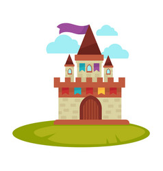 Cartoon medieval castle with high towers with flag vector