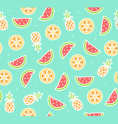 watermelon pineapple and orange tropical fruit vector image