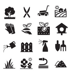 Silhouette lawn icons vector