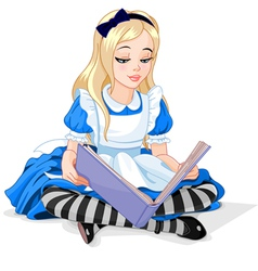 Alice reading a book vector