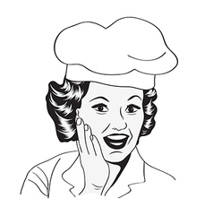Lady chef retro vector