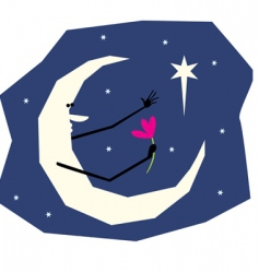 Lover moon vector