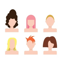 People faces icons set hairstyle vector