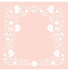 Birds and flowers border 2 vector
