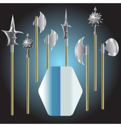medieval weapons and shield - vector image