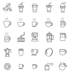 Coffee line icons on white background vector