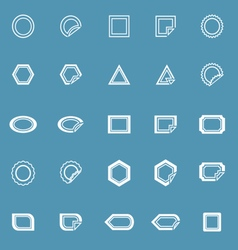 Label line icons on blue background vector