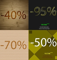 95 70 50 icon set of percent discount on abstract vector