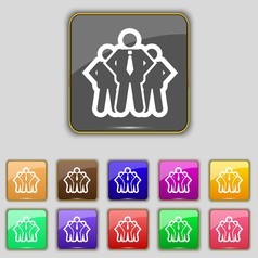 Business team icon sign set with eleven colored vector