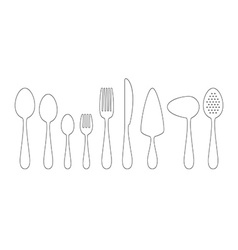 Set of thin line icons cutlery vector image