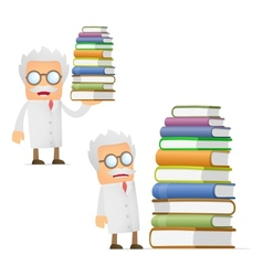 Scientist with books vector