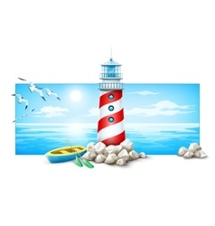 Lighthouse and boat at stones vector image
