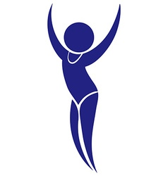 Sport icon design for floor exercise in blue vector
