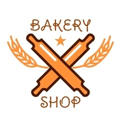 Bakery shop retro badge with crossed rolling pins vector