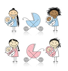 Mother walking with buggy newborn baby vector