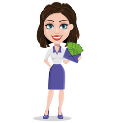 Beautiful business woman holding envelope full of vector