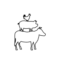 Beef chicken and pork vector image