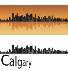 Calgary skyline in orange background vector