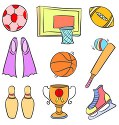 Collection stock of sport equipment doodle vector