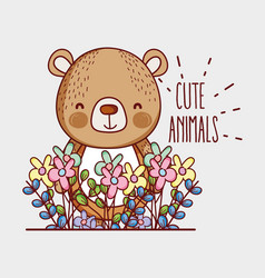 Cute bear doodle cartoon vector