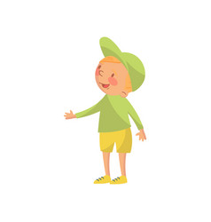 cute little boy in a green cap and shirt cartoon vector image