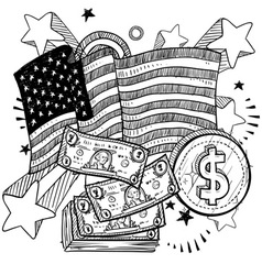 doodle americana money bw vector image vector image