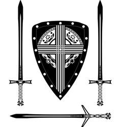 fantasy european shield and swords vector image
