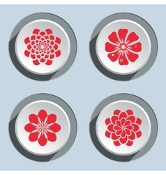 Flower circle icons set dahlia aster daisy vector