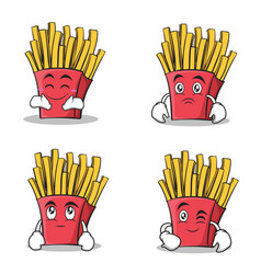 French fries cartoon character set collection vector