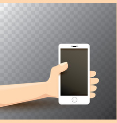hand holding white smart phone vector image vector image