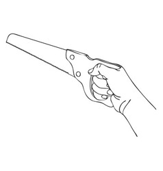 hand with saw vector image vector image