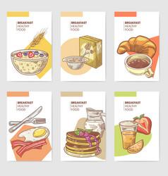 healthy breakfast hand drawn cards brochure vector image