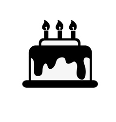 icon black and white cake vector image vector image