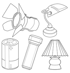 light related objects vector image vector image