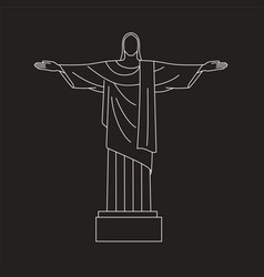 Line icon of christ the redeemer rio de vector