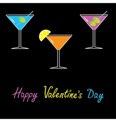 Martini set black background Happy Valentines Day vector image