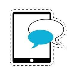 Mobile device chat dialog cut line vector