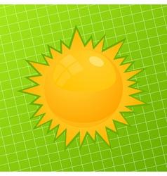orange sun on a green background a vector illustra vector image vector image
