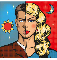pop art of male wearing vector image