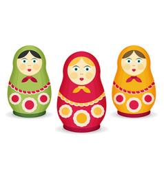 Russian dolls matrioshka flat style vector