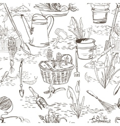 Seamless sketch with gardening tools vector image