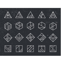 Set of abstract linear hipster logos vector