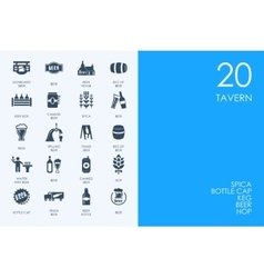 Set of blue hamster library tavern icons vector