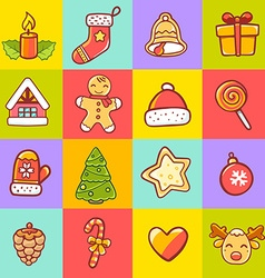 set of christmas items on colorful backgr vector image vector image