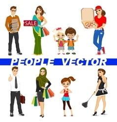 Set of diverse people characters vector